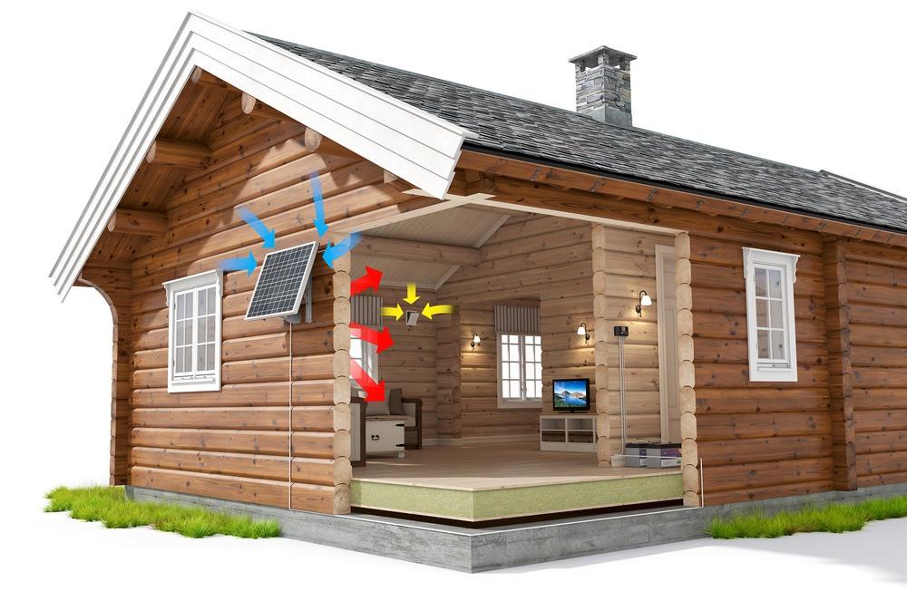Illustrasjonsbilde av et solcellepanel på en hyttevegg